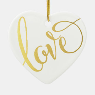 MODERN LOVE TYPE cute script typography cool gold Ceramic Heart Decoration