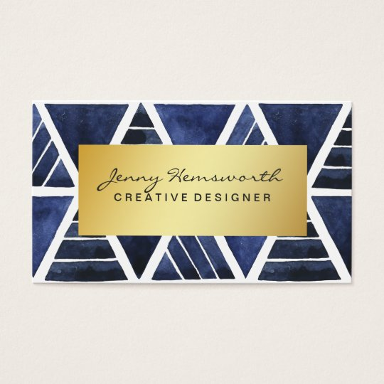 Modern Luxe Gold Geometric Watercolor Blue Business Card