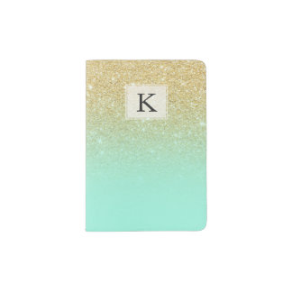 Modern luxurious gold ombre turquoise block passport holder