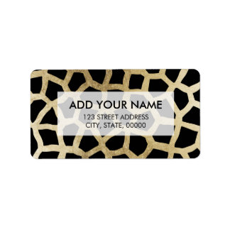 Modern luxury black and gold foil animal print address label