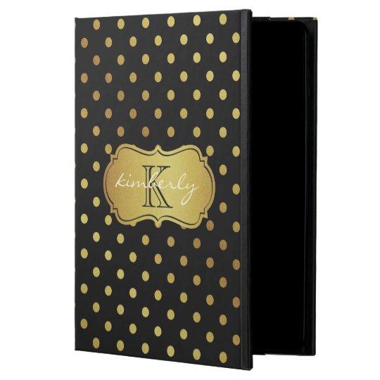Modern Luxury Black Gold Glitter Dots Pattern Powis