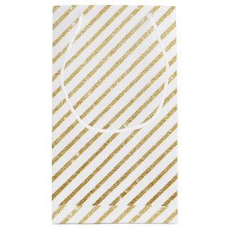 Modern luxury faux glitter gold stripes pattern small gift bag