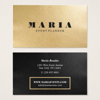 Modern luxury faux gold black texture professional business card