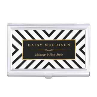 Modern Luxury Gold Black White Stripes Pattern Business Card Holder