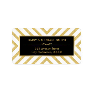 Modern Luxury Golden Glitter Black White Pattern Address Label
