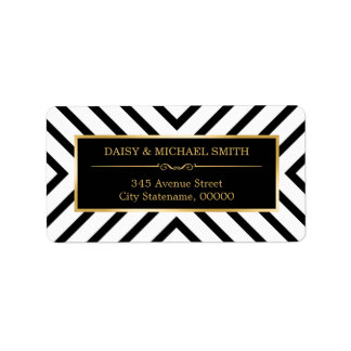 Modern Luxury Golden Ornaments Black White Pattern Address Label