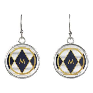 Modern Luxury Navy Blue Gold Stripes Monogram Drop Earrings