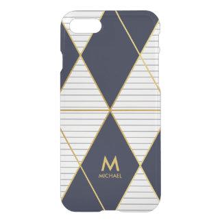 Modern Luxury Navy Blue Gold Stripes Monogram iPhone 7 Case