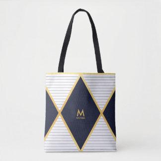 Modern Luxury Navy Blue Gold Stripes Monogram Tote Bag