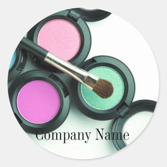 modern makeup artist business promotional classic round sticker