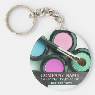 modern makeup artist business promotional basic round button key ring