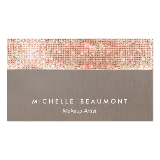 Modern Makeup Artist  Faux Rose Gold Sequins Pack Of Standard Business Cards