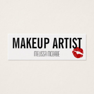 modern makeup artist lips kiss simple budget cheap mini business card