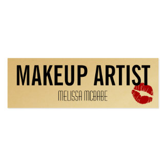modern makeup artist lips kiss simple budget cheap pack of skinny business cards