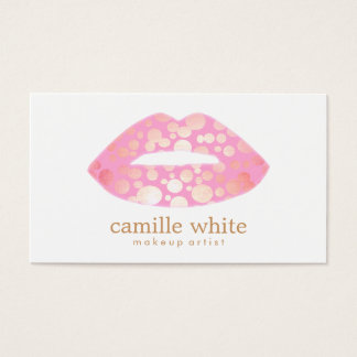 Modern Makeup Artist Pink and Gold Lips Logo Business Card