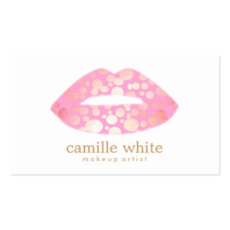 Modern Makeup Artist Pink and Gold Lips Logo Pack Of Standard Business Cards