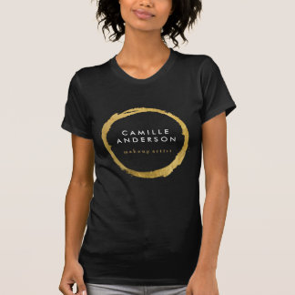 Modern Makeup Artistry with Gold Circle on Black T Shirts