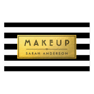 Modern Makeup - Gold Label and Black White Stripes Pack Of Standard Business Cards