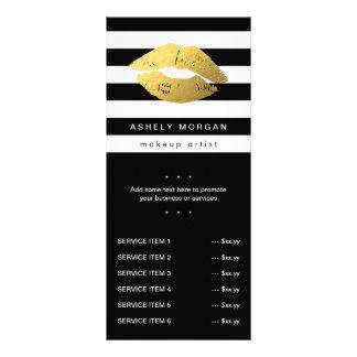Modern Makeup Gold Lips - Chic Black White Stripes Rack Card