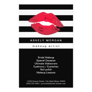 Modern Makeup Red Lips - Chic Black White Stripes 14 Cm X 21.5 Cm Flyer