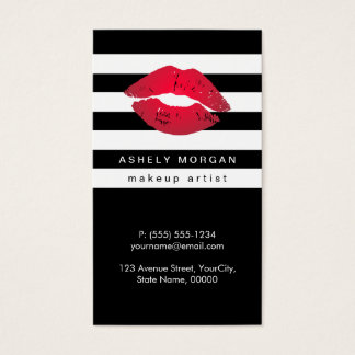 Modern Makeup Red Lips - Chic Black White Stripes Business Card