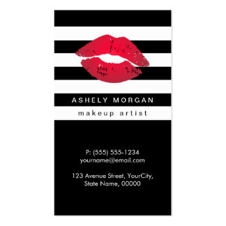 Modern Makeup Red Lips - Chic Black White Stripes Pack Of Standard Business Cards