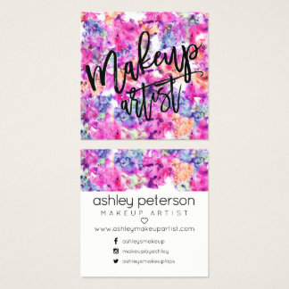 Modern makeup typography pink purple watercolor square business card