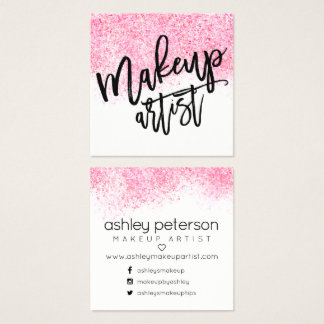 Modern makeup typography pink watercolor confetti square business card