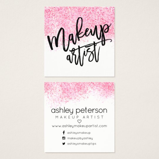 Modern makeup typography pink watercolor confetti square business