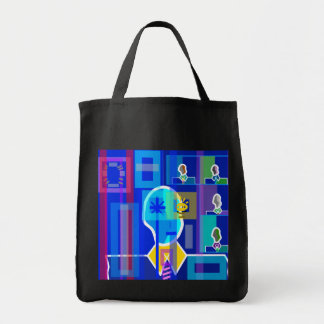 Modern man in blue transparent grocery tote bag