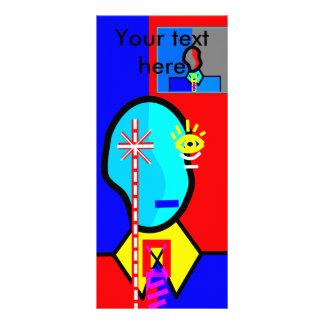 Modern man in dark blue and red custom rack card