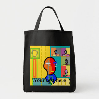 Modern man on yellow background canvas bags