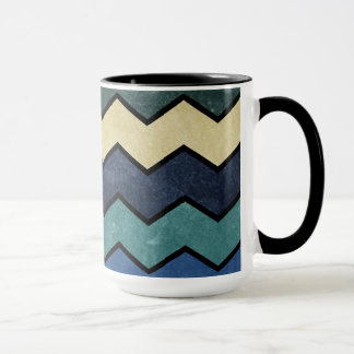 Modern Manly Blue Chevrons Mug