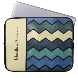 Modern Manly Blue Chevrons With Name Laptop Computer Sleeve