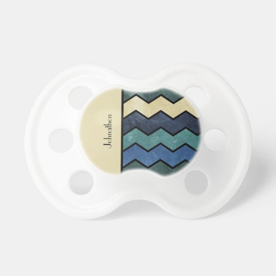 Modern Manly Blue Chevrons With Name Pacifiers