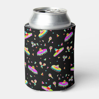Modern maracas sombreros watercolor illustration can cooler