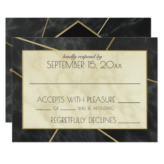 Modern Marble and Gold Geometric Wedding Reply Card