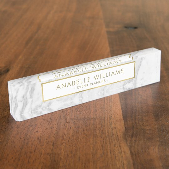 Custom White Marble Stone Hanging Desk Name Plate Zazzle