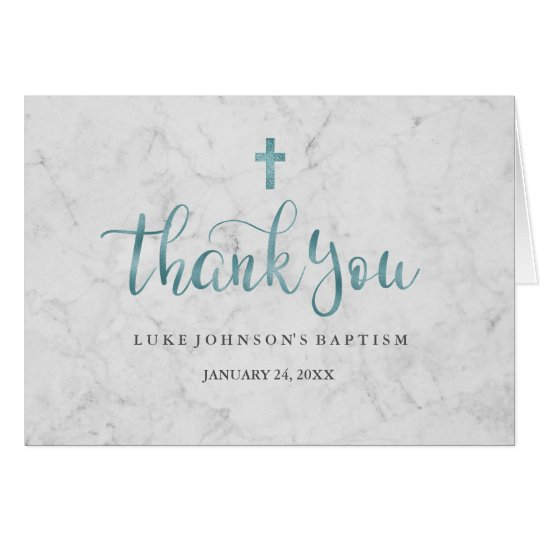 Modern Marble Blue Baptism Thank You Card