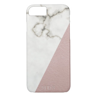 Modern Marble Monogram Blush Faux Leather iPhone 8/7 Case
