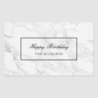 Modern marble rectangular sticker