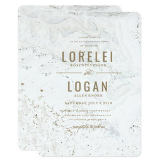 Modern Marble Wedding Invitation | Gold