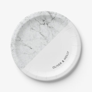 Modern marble wedding paper plate