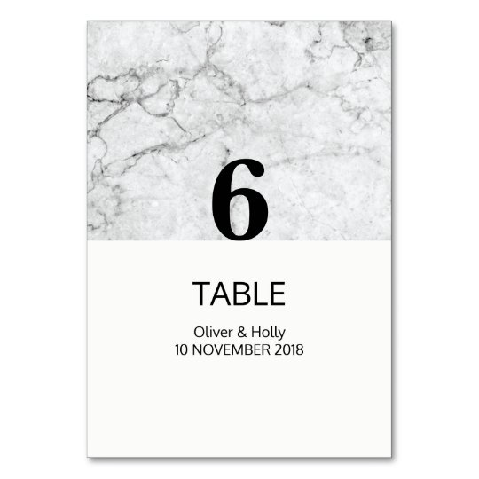 Modern marble wedding table number