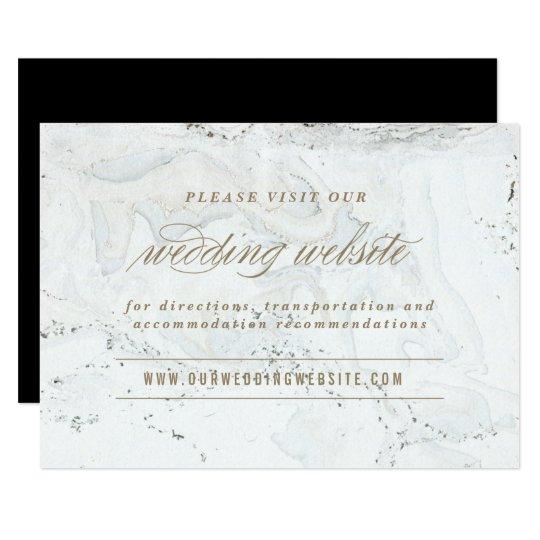 Modern Marble Wedding Website Card | Gold