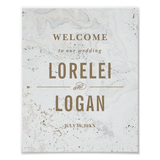 Modern Marble Wedding Welcome Sign | Black