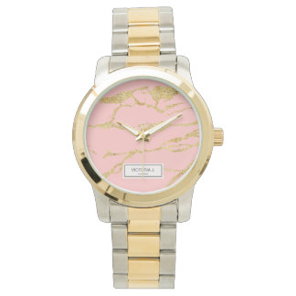 Modern marble with faux gold watch