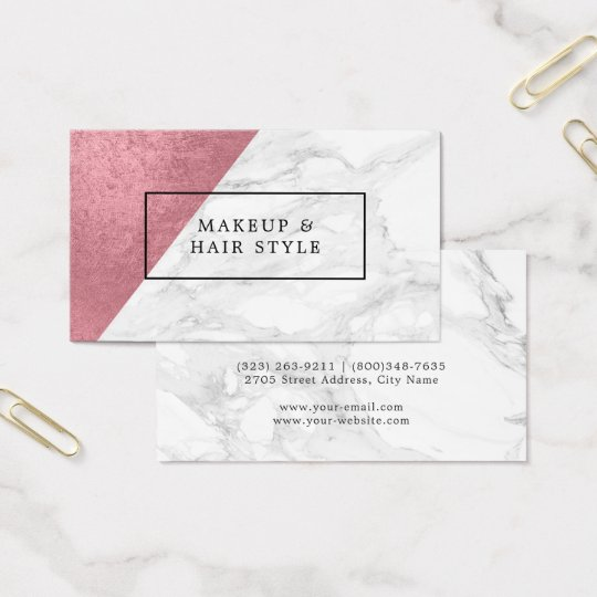 Modern Marble with Faux Rose Gold Business Card