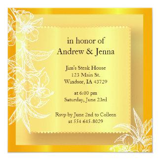 Modern Marigold Yellow & White Floral Stamp 13 Cm X 13 Cm Square Invitation Card