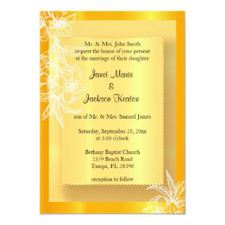 Modern Marigold Yellow & White Floral Stamp Card